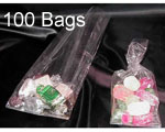 2.5 x 1.25 x 7.5 (.0009) Gusseted Cellophane, 100 Bags