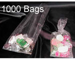 2.5 x 1.25 x 7.5 (.0009) Gusseted Cellophane, 1000 Bags